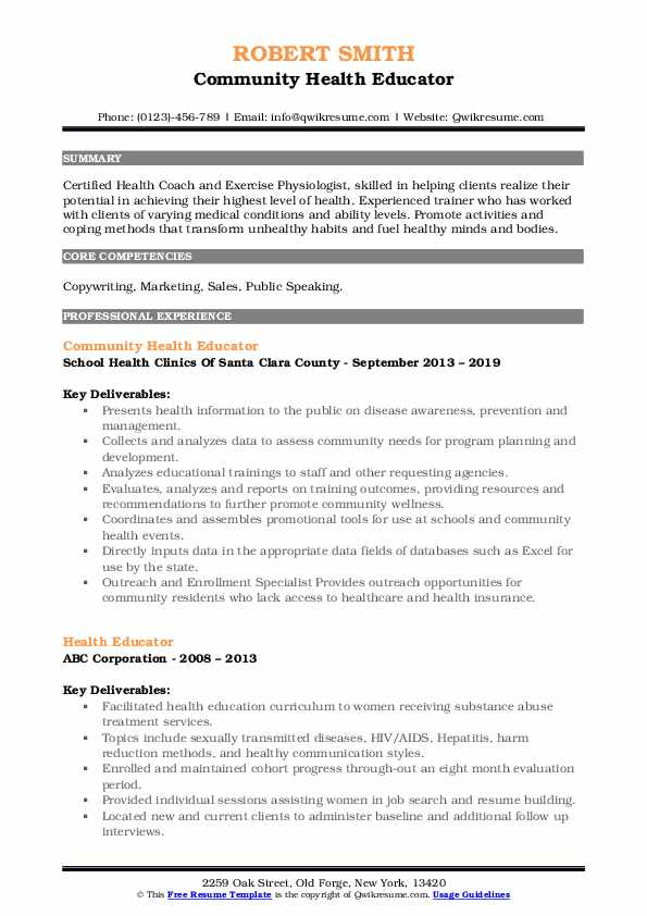 Community Health Educator Resume Example