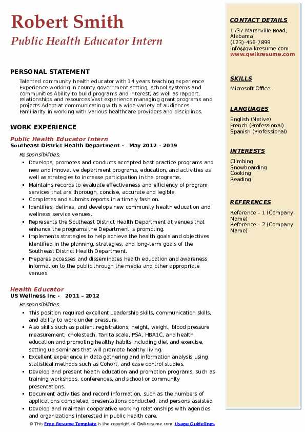 Public Health Educator Intern Resume Template