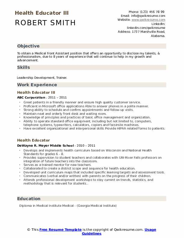 Health Educator III Resume Template