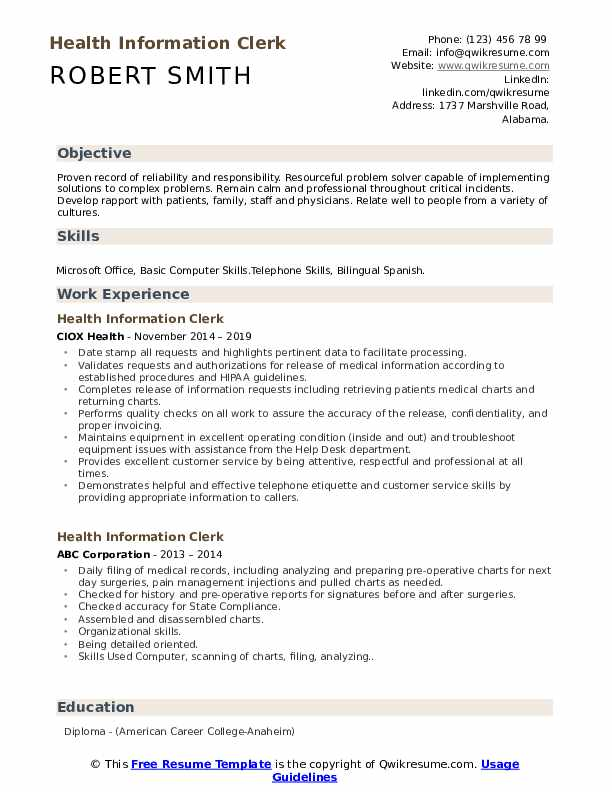 Health Information Clerk Resume Model