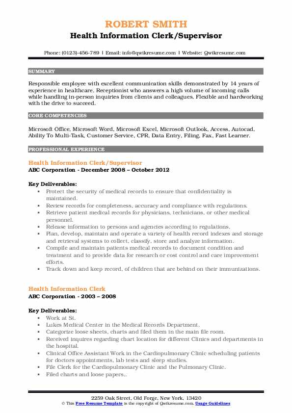 Health Information Clerk/Supervisor Resume Model