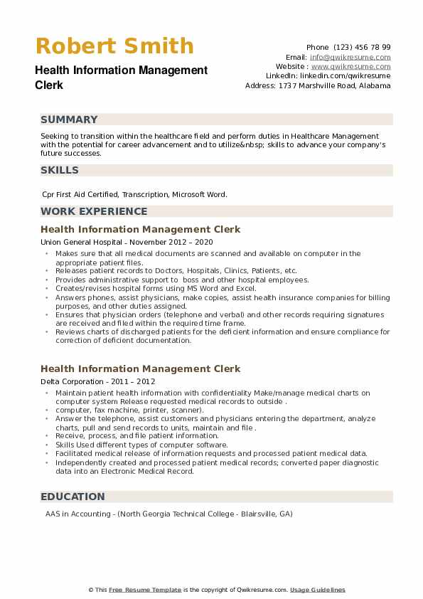 Health Information Management Clerk Resume example