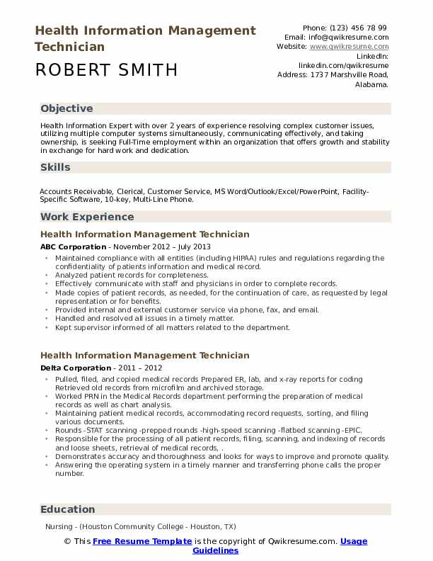 Health Information Management Technician Resume example