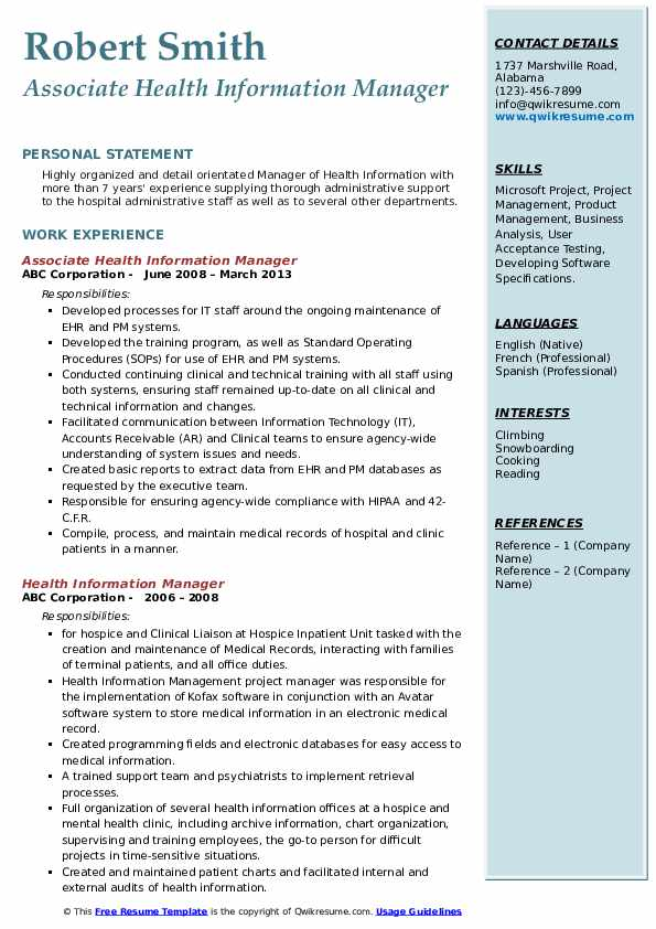 Director Of Health Information Management Resume Example