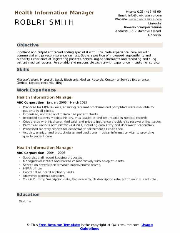 Health Information Manager Resume example