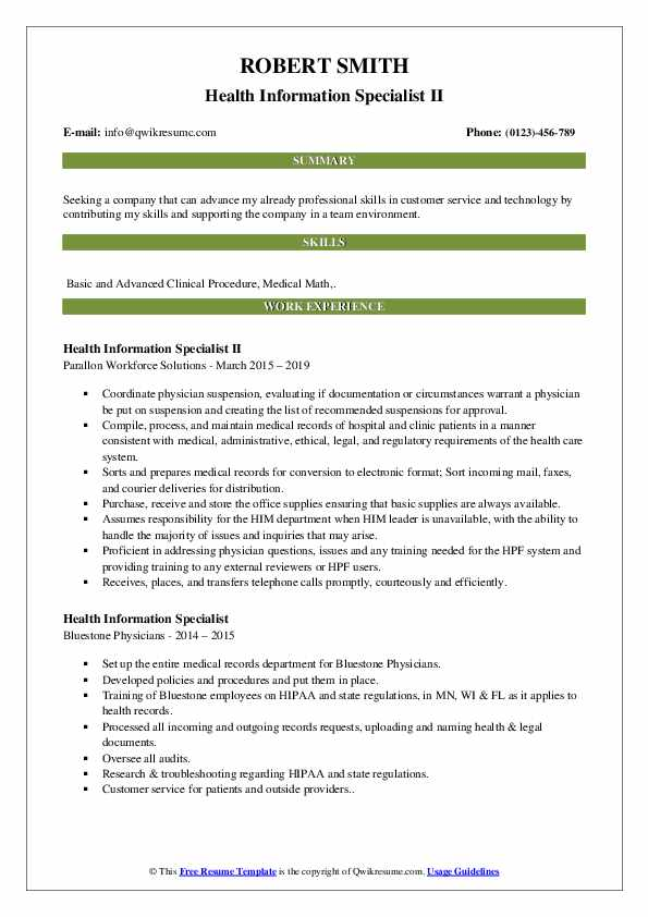 health information specialist resume samples