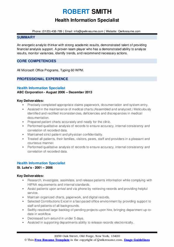 Health Information Specialist Resume example