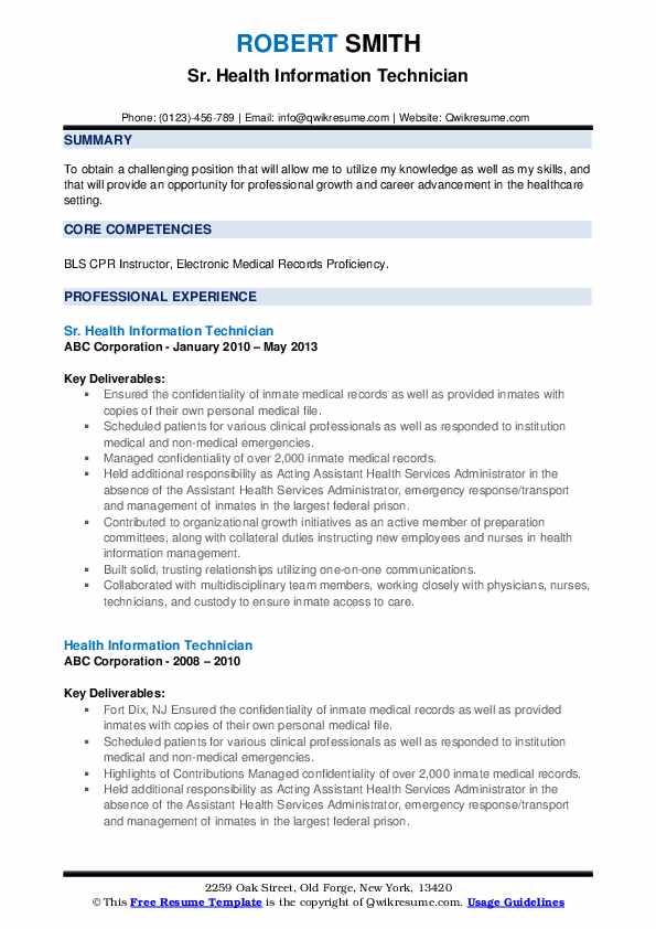 Sr. Health Information Technician Resume Template