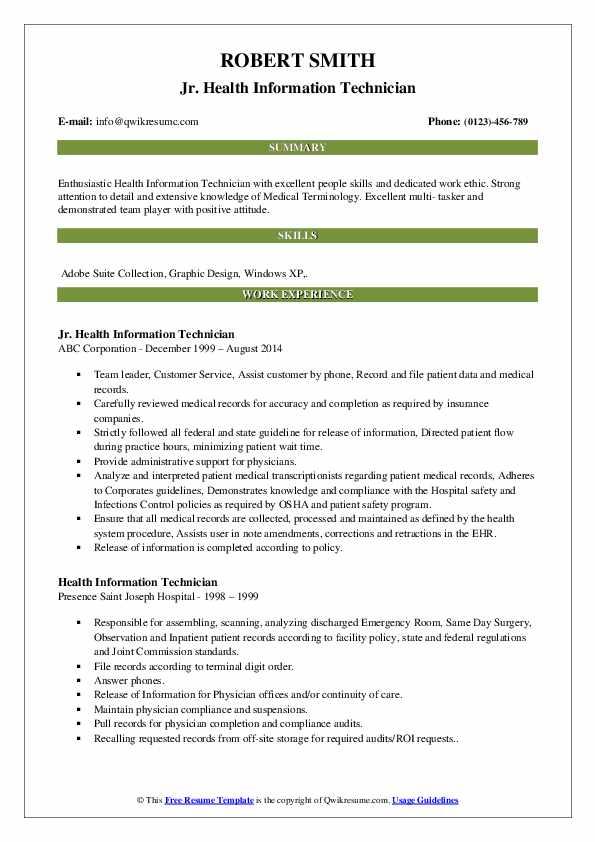 Jr. Health Information Technician Resume Example