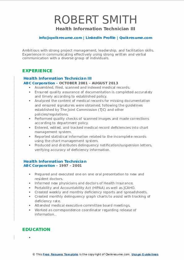 Health Information Technician III Resume Sample