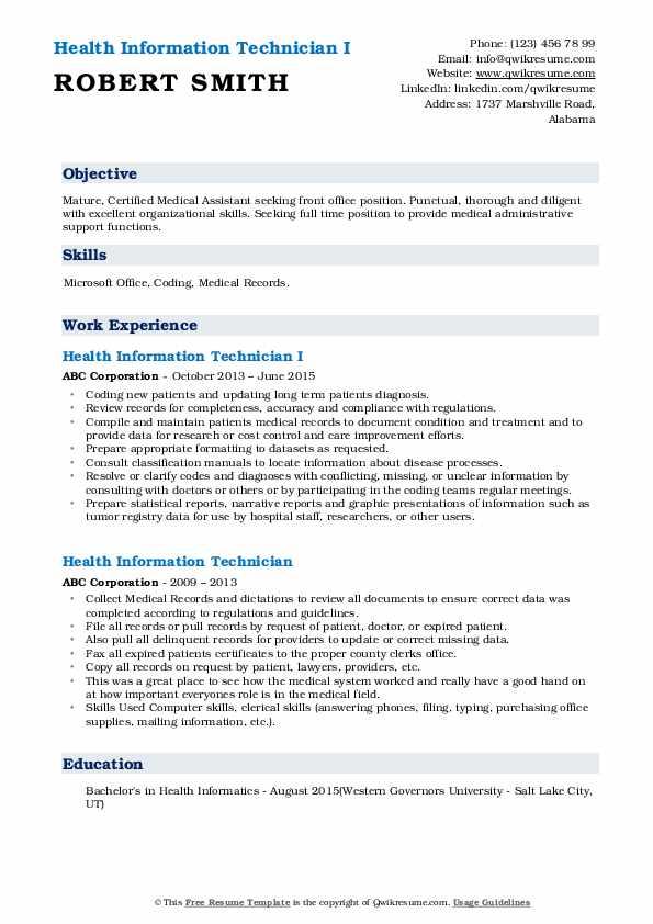 Health Information Technician I Resume Model