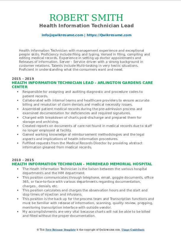 Health Information Technician Lead Resume Model
