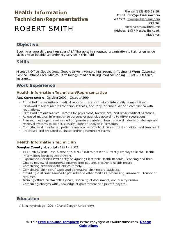 Health Information Technician/Representative Resume Sample