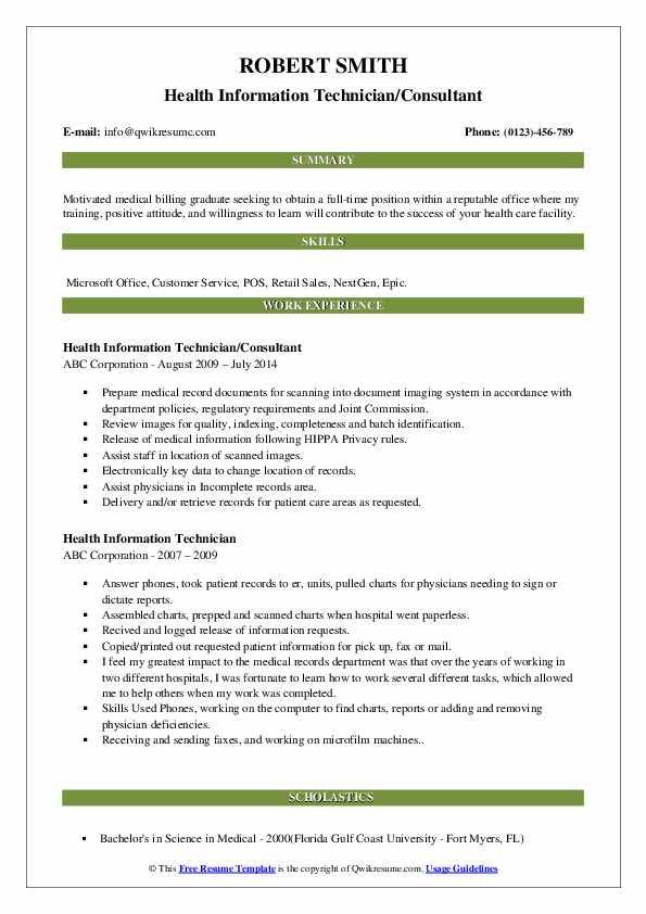 Health Information Technician/Consultant Resume Example