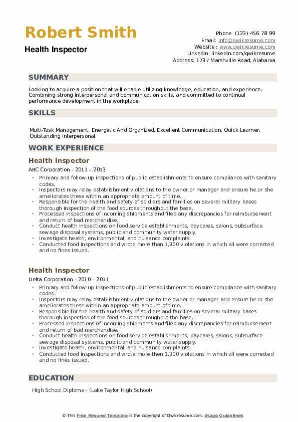 Health Inspector Resume example