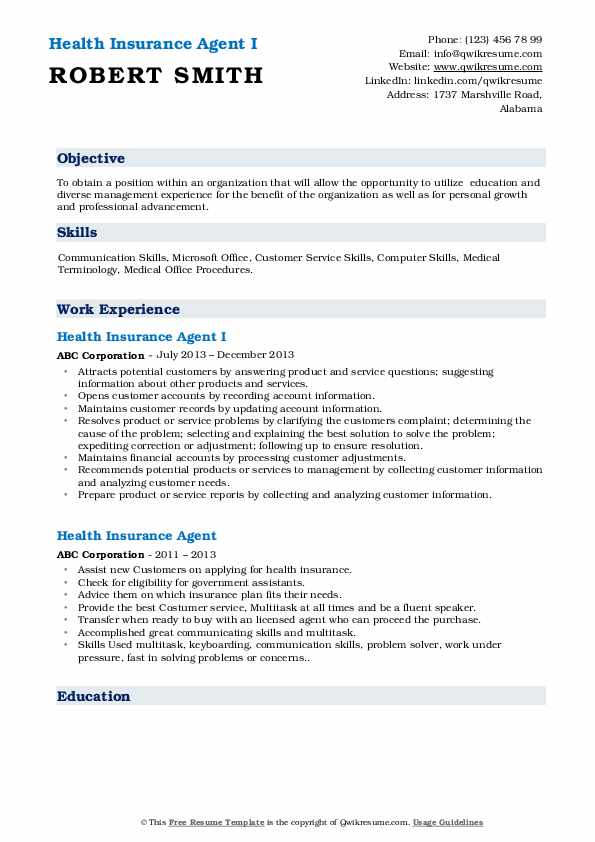 Health Insurance Agent Resume Samples | QwikResume