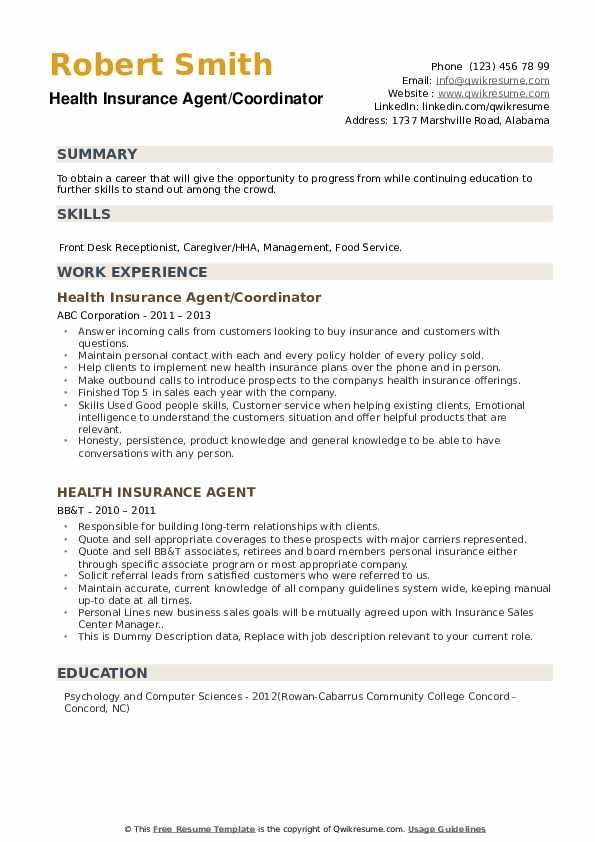 Health Insurance Agent Resume Samples | QwikResume