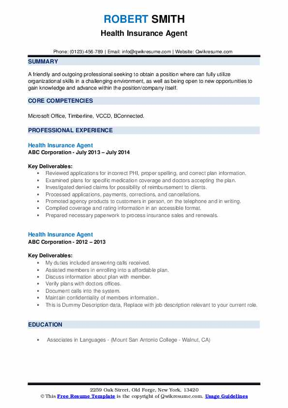 Health Insurance Agent Resume Samples Qwikresume