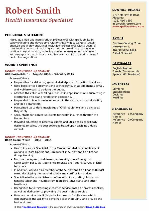 health insurance specialist resume samples  qwikresume