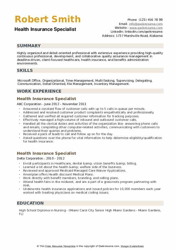 Health Insurance Specialist Resume example