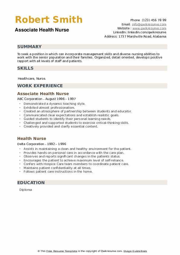 Health Nurse Resume example