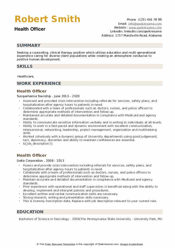 Health Officer Resume example