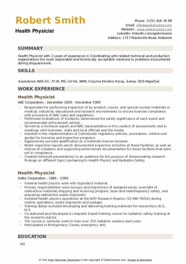 Health Physicist Resume example
