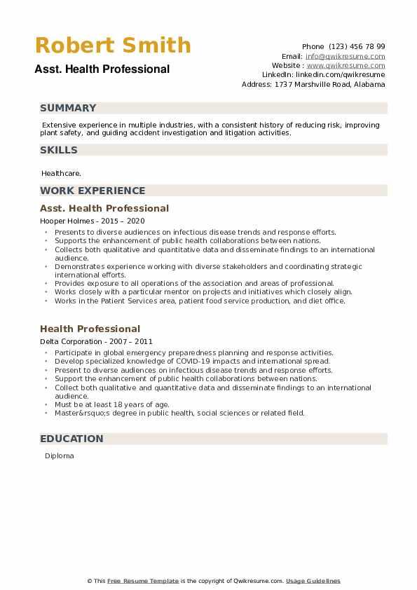 Health Professional Resume example