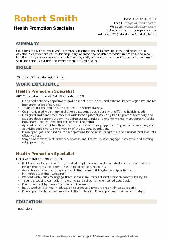 Health Promotion Specialist Resume example