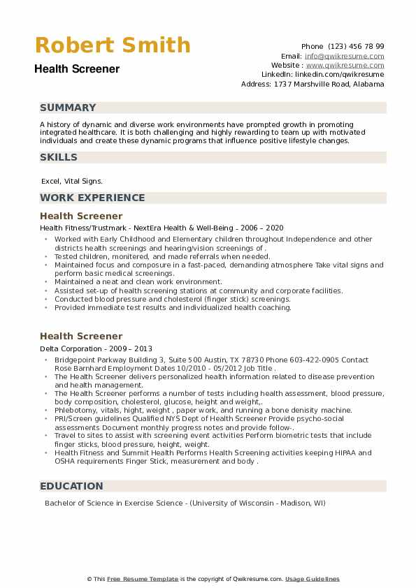 Health Screener Resume example
