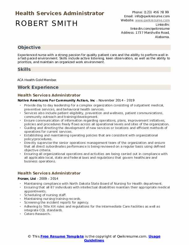Health Services Administrator Resume Example