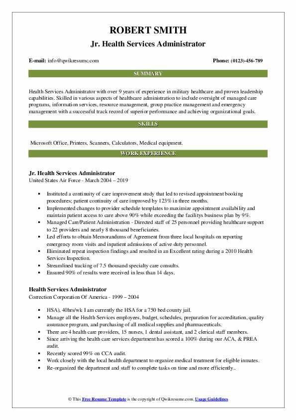 Jr. Health Services Administrator Resume Sample