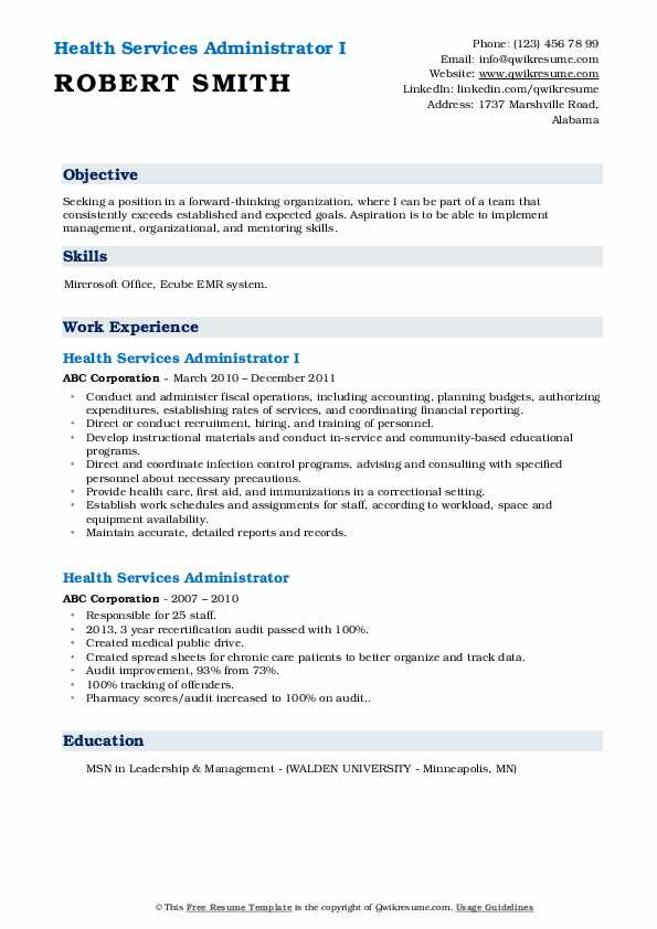 Health Services Administrator I Resume Model
