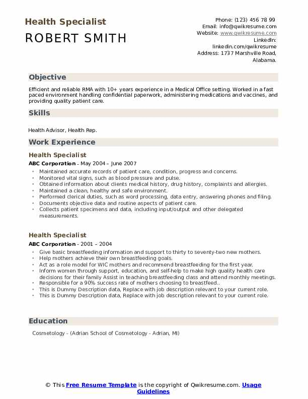 Health Specialist Resume example