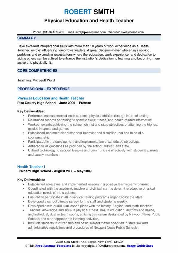 health teacher resume samples