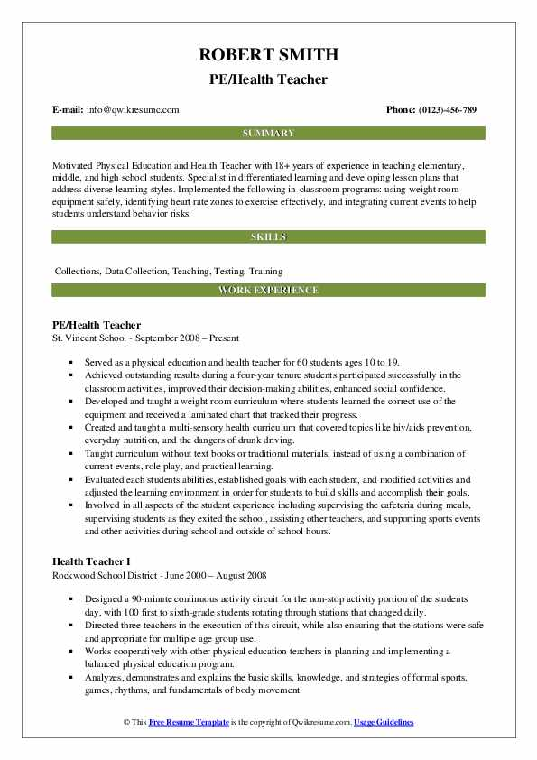 health teacher resume samples
