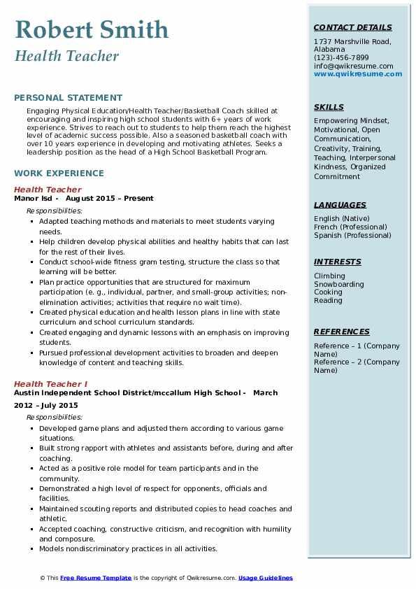 Health Teacher Resume Model