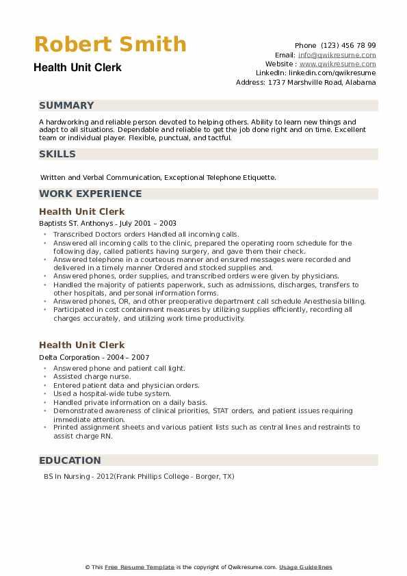 Health Unit Clerk Resume example