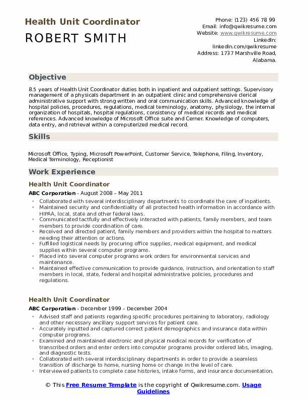 Health Unit Coordinator Resume Sample