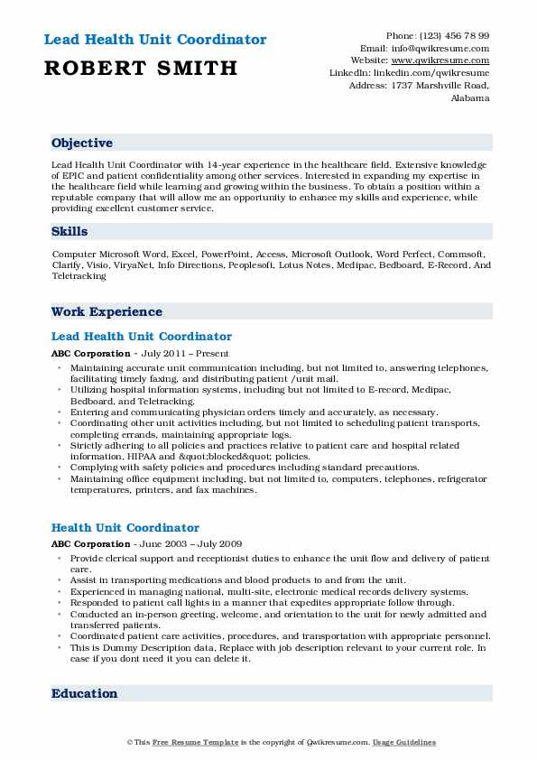 Lead Health Unit Coordinator Resume Model