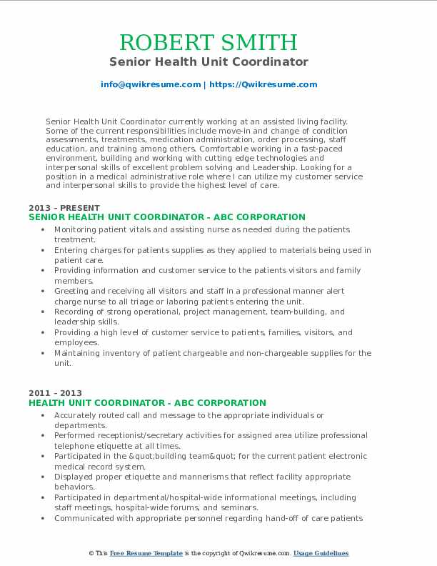 Senior Health Unit Coordinator Resume Format