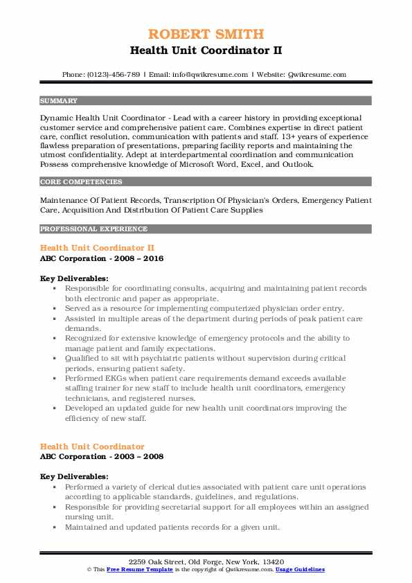 Health Unit Coordinator II Resume Model