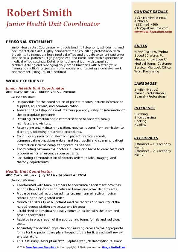 Junior Health Unit Coordinator Resume Template