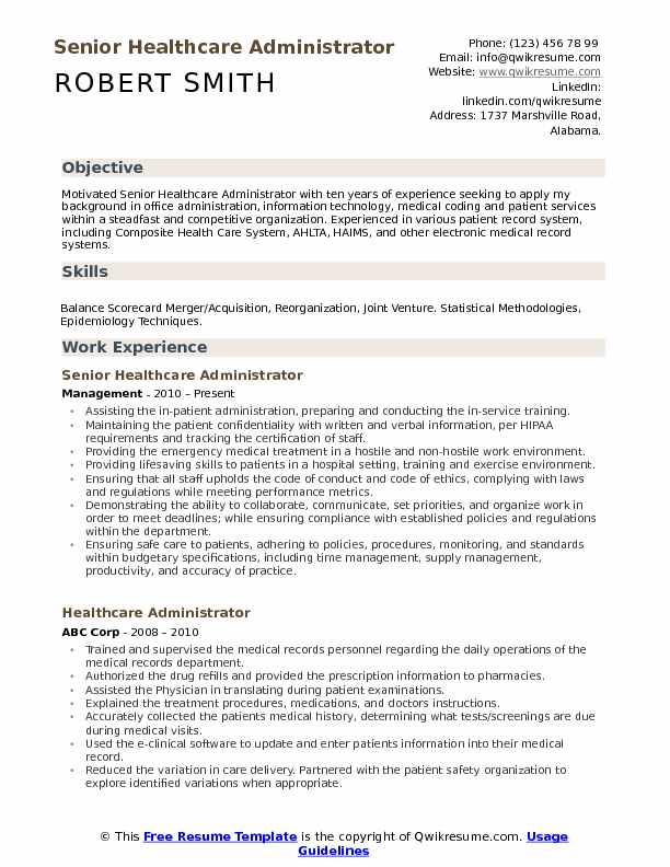 Senior Healthcare Administrator Resume Model
