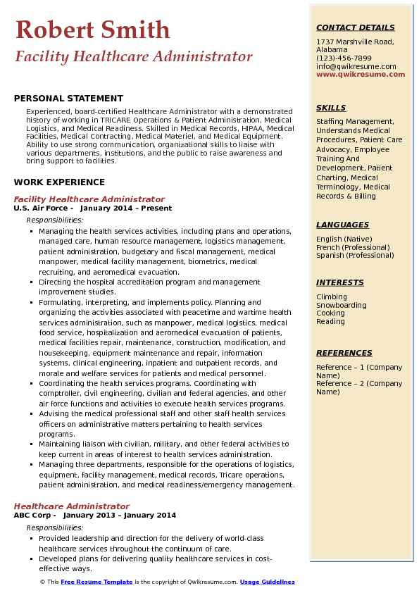 Healthcare Administrator Resume Samples | QwikResume