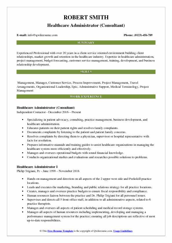 Healthcare Administrator Consultant Resume Model