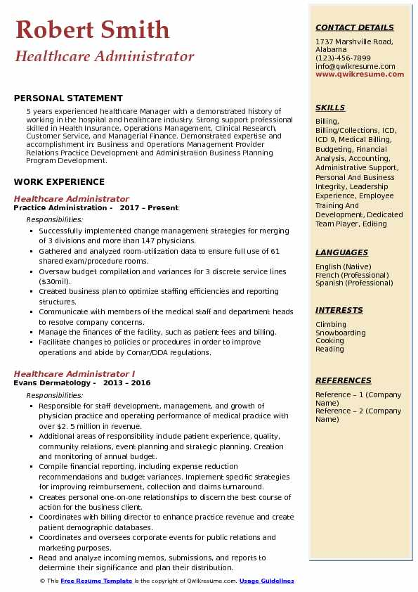 Healthcare Administrator Resume Example