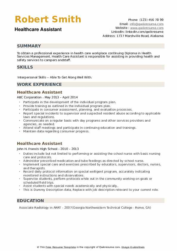 Healthcare Assistant Resume example