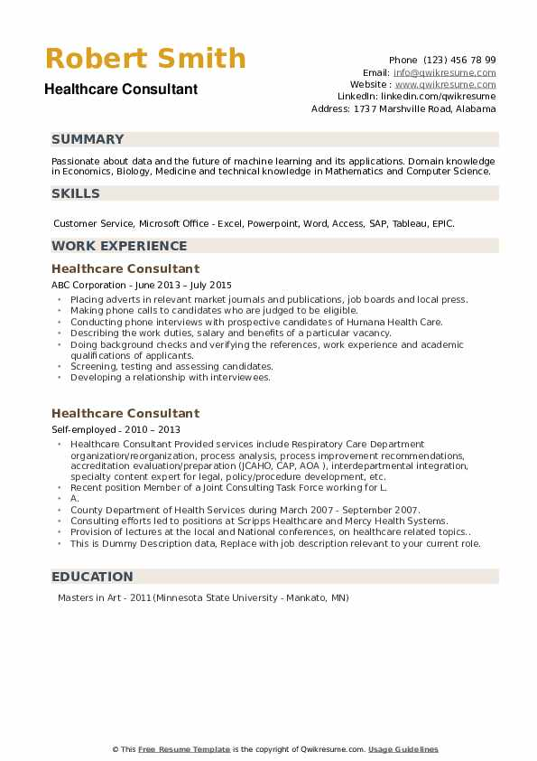 Healthcare Consultant Resume example