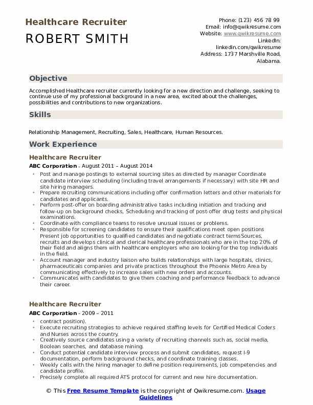 Healthcare Recruiter Resume Example